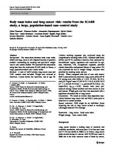 Body mass index and lung cancer risk: results from the ICARE study, a large, population-based case–control study