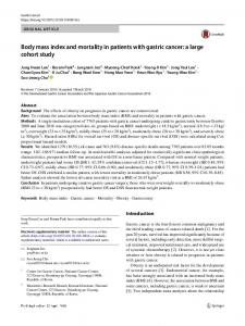 Body mass index and mortality in patients with gastric cancer: a large cohort study