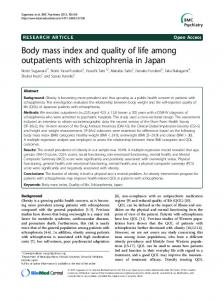 Body mass index and quality of life among outpatients with schizophrenia in Japan