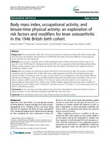 Body mass index, occupational activity, and leisure-time physical activity: an exploration of risk factors and modifiers for knee osteoarthritis in the 1946 British birth cohort