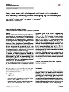 Body mass index, risk of allogeneic red blood cell transfusion, and mortality in elderly patients undergoing hip fracture surgery