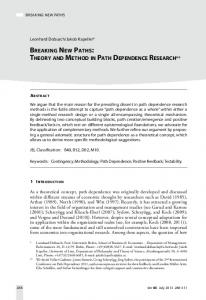 Breaking New Paths: Theory and Method in Path Dependence Research