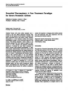 Bronchial Thermoplasty: A New Treatment Paradigm for Severe Persistent Asthma