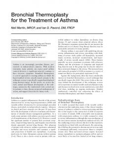 Bronchial thermoplasty for the treatment of asthma