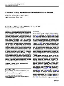 Cadmium Toxicity and Bioaccumulation in Freshwater Biofilms
