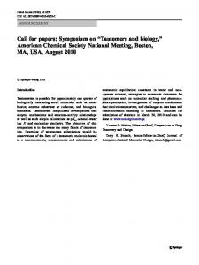 "Call for papers: Symposium on ""Tautomers and biology,"" American Chemical Society National Meeting, Boston, MA, USA, August 2010"