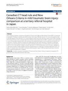 Canadian CT head rule and New Orleans Criteria in mild traumatic brain injury: comparison at a tertiary referral hospital in Japan