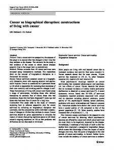 Cancer as biographical disruption: constructions of living with cancer