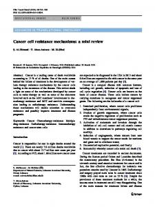 Cancer cell resistance mechanisms: a mini review