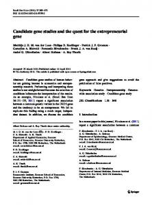 Candidate gene studies and the quest for the entrepreneurial gene