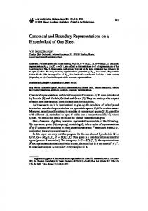 Canonical and Boundary Representations on a Hyperboloid of One Sheet