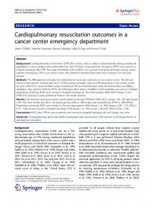 Cardiopulmonary resuscitation outcomes in a cancer center emergency department