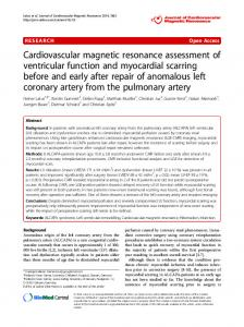 Cardiovascular magnetic resonance assessment of ventricular function and myocardial scarring before and early after repair of anomalous left coronary artery from the pulmonary artery