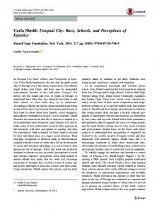 Carla Shedd: Unequal City: Race, Schools, and Perceptions of Injustice