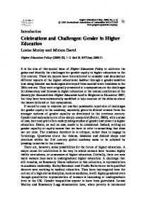 Celebrations and Challenges: Gender in Higher Education