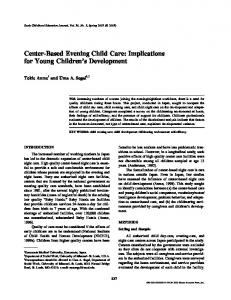 Center-Based Evening Child Care: Implications for Young Children's Development