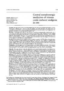 Central noradrenergic mediation of nitrous oxide-induced analgesia in rats