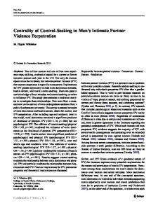 Centrality of Control-Seeking in Men's Intimate Partner Violence Perpetration