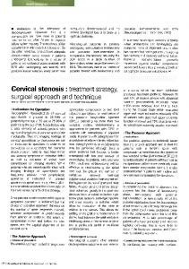 Cervical stenosis: Treatment strategy, surgical approach and technique