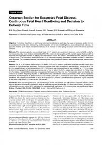 Cesarean section for suspected fetal distress, continuous fetal heart monitoring and decision to delivery time