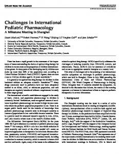 Challenges in International Pediatric Pharmacology