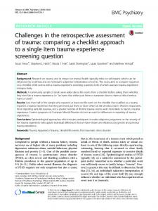 Challenges in the retrospective assessment of trauma: comparing a checklist approach to a single item trauma experience screening question
