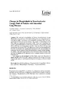 Changes in phospholipids in bronchoalveolar lavage fluid of patients with interstitial lung diseases
