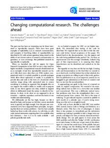 Changing computational research. The challenges ahead
