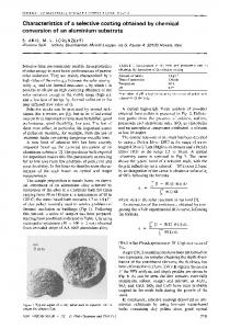 Characteristics of a selective coating obtained by chemical conversion of an aluminium substrate