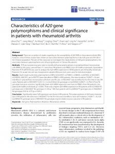 Characteristics of A20 gene polymorphisms and clinical significance in patients with rheumatoid arthritis