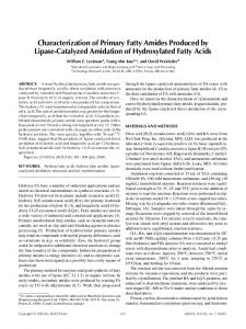 Characterization of primary fatty amides produced by lipase-catalyzed amidation of hydroxylated fatty acids