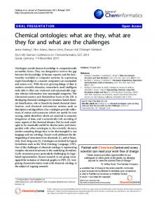 Chemical ontologies: what are they, what are they for and what are the challenges