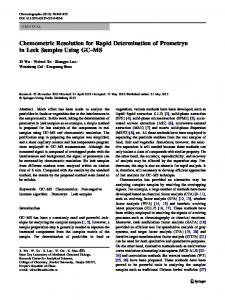 Chemometric Resolution for Rapid Determination of Prometryn in Leek Samples Using GC–MS