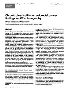 Chronic diverticulitis vs. colorectal cancer: findings on CT colonography