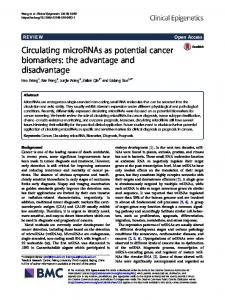 Circulating microRNAs as potential cancer biomarkers: the advantage and disadvantage