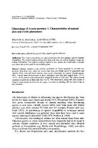 Climatology of Acacia mearnsii. 1. Characteristics of natural sites and exotic plantations