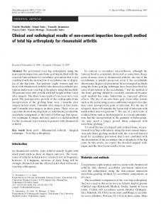 Clinical and radiological results of non-cement impaction bone-graft method of total hip arthroplasty for rheumatoid arthritis