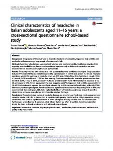 Clinical characteristics of headache in Italian adolescents aged 11–16years: a cross-sectional questionnaire school-based study