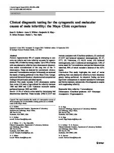 Clinical diagnostic testing for the cytogenetic and molecular causes of male infertility: the Mayo Clinic experience