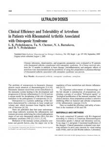 Clinical Efficiency and Tolerability of Artrofoon in Patients with Rheumatoid Arthritis Associated with Osteopenic Syndrome