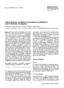 Clinical response and plasma concentration of amitriptyline and its metabolite nortriptyline
