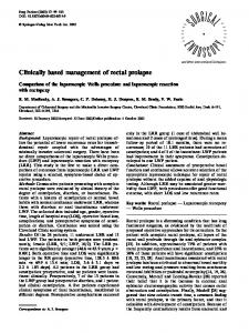 Clinically based management of rectal prolapse