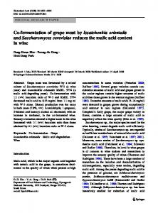 Co-fermentation of grape must by Issatchenkia orientalis and Saccharomyces cerevisiae reduces the malic acid content in wine