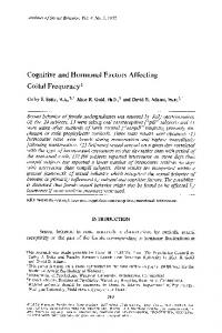 Cognitive and hormonal factors affecting coital frequency