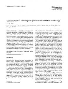 Colorectal cancer screening: the potential role of virtual colonoscopy