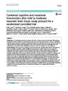 Combined cognitive and vocational interventions after mild to moderate traumatic brain injury: study protocol for a randomized controlled trial