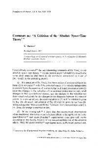 "Comments on: ""A criticism of the 'absolute space-time theory'"""