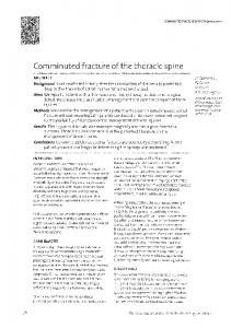 Comminuted fracture of the thoracic spine