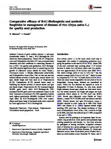 Comparative efficacy of BAU-Biofungicide and synthetic fungicides in management of diseases of rice (Oryza sativa L.) for quality seed production
