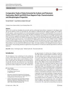 Comparative Study of Xylan Extracted by Sodium and Potassium Hydroxides (NaOH and KOH) from Bagasse Pulp: Characterization and Morphological Properties
